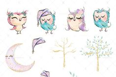 Cute Owls Clipart - Illustrations - 3