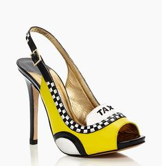Made from patent leather, the pumps boast an all round taxi decal including a black and white striped stacked heel and the word 'taxi' cheekily printed just above the peep toe.