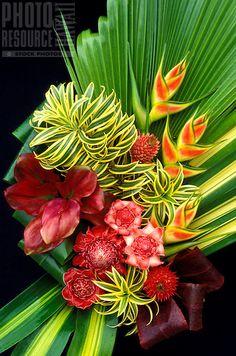 Arrangement of heliconia, gingers, bromeliad and foliage // Location: Island of Maui, Hawaii, USA