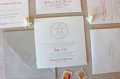 Sand Dollar Letterpress Wedding Invitation  by chathamandcaron, $5.00