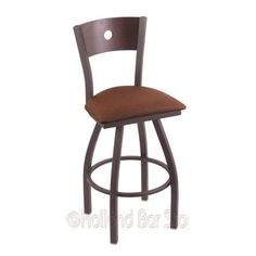 "Holland Bar Stool Voltaire 30"" Swivel Bar Stool Base Finish: Black Wrinkle, Back Finish: Dark Cherry Maple, Upholstery: Allante Medium Grey"