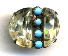 Vintage/Antique Button...Prong-Set Turquoise Cabochons & Facetted Flint Glass