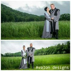 Bride and groom in custom made Jedi robes. www.etsy.com/shop/AvalondesignsNL
