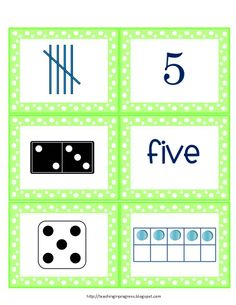 Set of cards showing multiple representations for numbers 0-10 using: number, tallies, number word, dice, dominoes, ten frame, Includes recording sheet