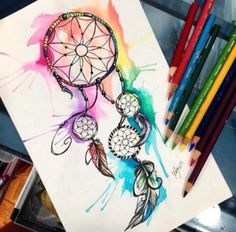 Love the use of watercolour in this dream catcher, shows that what dreams are made of colour ❤️