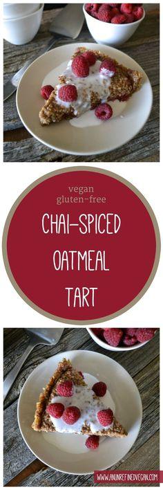 Vegan, gluten-free Chai-spiced Oatmeal Tart from An Unrefined Vegan.