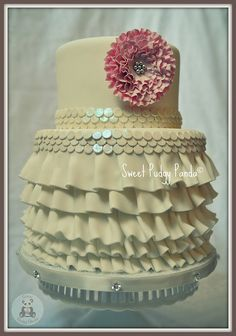 Ruffles, flower, & icing that sparkles like sequins - I'm in love!