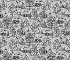 grey and black greyhound toile by Artbyjanewalker, spoonflower