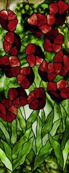Poppies in Youghiogheny glass,  © David Kennedy 2014 www.kennedyoriginalstainedglass.com