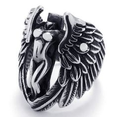 KONOV Jewelry Biker Vintage Stainless Steel Angel Wing Ring, Black Silver (Available in Sizes 8 - 15)
