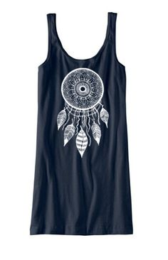 Womens DREAMCATCHER Tank Top Dress screenprint dream catcher beach coverupS M L XL More colors on Etsy, $20.00
