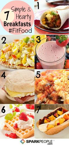 A week's worth of healthy breakfast ideas you can make in minutes!  (Click for a shopping list too!) | via @SparkPeople #food #recipe #FitFood #meal #plan
