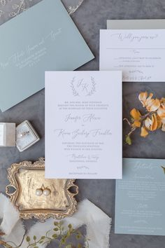 Dusty Blue Monogram Letterpress Wedding Invitation - perfect for a rustic vineyard wedding!