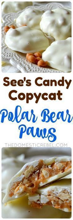 These POLAR BEAR PAWS taste even BETTER than the ones at See's Candy! Buttery caramel and crunchy, slightly salty peanuts are enrobed in sweet white chocolate for an addictive candy made start to finish in about 30 minutes! So easy and great for gift-givi Easy Candy Recipes, Holiday Recipes, Cookie Recipes, Dessert Recipes, Easy Christmas Candy Recipes, Holiday Candy, Holiday Gifts, Christmas Treats, Christmas Baking