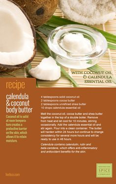 [ Recipe: Calendula & Coconut Body Butter ] Made with coconut oil, cocoa butter, unrefined shea butter, and calendula essential oil. ~ from Monterey Bay Spice Co