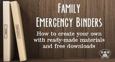 Do you have a Family Emergency Binder at home? Do you always mean to put one together but just haven't had time? Here's a resource to find an emergency binder just for you that you can put together quickly - includes fabulous ready-made binders and free d Emergency Preparedness Kit, Emergency Preparation, Emergency Supplies, Emergency Rations, Family Emergency Binder, In Case Of Emergency, Planners, Chicken Nesting Boxes, Just In Case