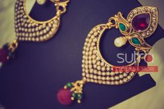 Tiny pearl studded Indian jhumkis (earrings) with ruby colored drop    http://on.fb.me/1gSWddW