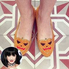 "How Hollywood Does Halloween | KATY PERRY | This is how we do Halloween: Perry puts her most festive foot forward with some spirited footwear courtesy of Charlotte Olympia, the queen of quirky flats. ""OCTOBER,"" she wrote on Instagram. ""MY BODY IS READY!"""