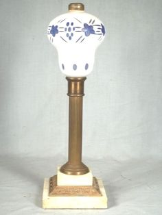 ANTIQUE 19th CENTURY CUT BLUE+WHITE OVERLAY OIL LAMP ON MARBLE+BRASS BASE