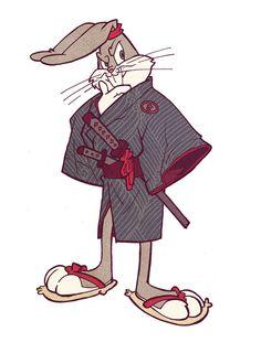 'Looney Tunes' Characters as Samurai Warriors (Bugs Bunny) Looney Tunes Characters, Looney Tunes Cartoons, Classic Cartoon Characters, Classic Cartoons, Dope Cartoons, Dope Cartoon Art, Cartoon Pics, Looney Tunes Personajes, Character Design Disney