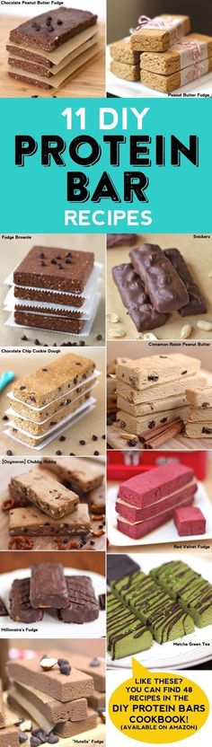 "Healthy snacks to make at home ""Healthy Homemade Protein Bar Roundup + a GIVEAWAY of the #DIYProteinBars Cookbook and 2 boxes of protein powder. With 3 winners! If you're tired of buying protein/energy bars from the store (and shelling out all the cash for them), make protein bars at home! They're easy, no-bake, fudgy and sweet, you'd never know they're refined sugar free, gluten free, vegan and all natural. If you like these 11 recipes just WAIT until you see the cookbook... it's got 48 ..."