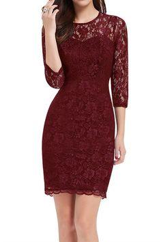 Burgundy 3/4 Sleeve Lace Dress