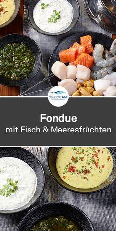 Fisch-Fondue: Fondue – ein Muss an Silvester. Wie wär's mit Garnelen & Seeteu… Fish Fondue: Fondue – a must on New Year's Eve. How about shrimp & monkfish bathing in saffron? Homemade fondue sauces like Chimichurri – that's how it works! Fondue Vigneronne, Best Cheese Fondue, Fondue Recipes, Chimichurri, Fondue Oceane, Paula Deen, Food Tags, Party Buffet, Eat Smart