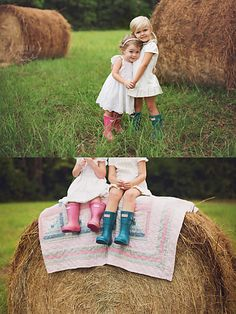 Sullivan Blue Blog, hay bails, fall photography, quilt, hunter boots, hunter wellies, hay, fall, autumn, mini sessions