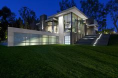Gorgeous Green Modern Beverly Hills Home With A Bowling Alley That Has An Underground View of The Pool. - if it's hip, it's here Beautiful Architecture, Contemporary Architecture, Residential Architecture, Interior Architecture, Interior Design, Summit Homes, Beverly Hills Houses, Foyers, Large Homes
