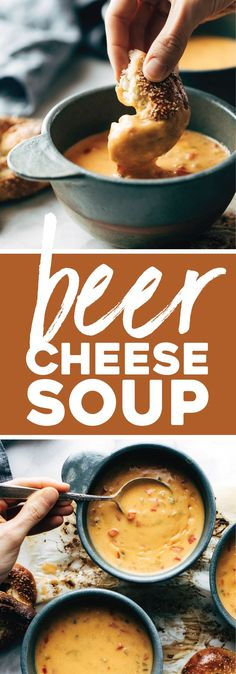 Beer Cheese Soup with Soft Pretzels! WHAT ELSE IS THERE TO SAY. Creamy homemade comfort food. #beercheesesoup #soup #pretzel #softpretzel #recipe | pinchofyum.com