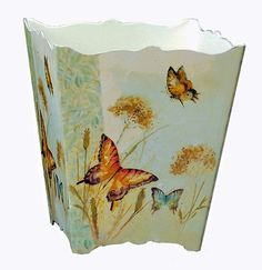 "Floral Wastebasket -""Enchanted Garden"" Butterfly Waste Basket - Butterfly Trash Can Paisley Art, Enchanted Garden, Home Collections, African Art, Stencils, Decorative Boxes, Basket, Butterfly, Scrapbook"