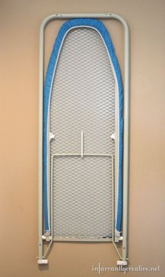 Ironing Board DIY Ironing Station made with Wood crate and hooks. Great for craft room or laundry room organization. Store An Ironing Board Laundry Room Doors, Laundry Room Design, Laundry Closet, Small Laundry, Laundry Drying, Closet Doors, Ironing Board Storage, Ironing Boards, Ironing Station