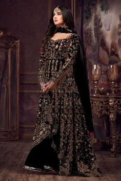 Luminous Black Color Heavy Net Embroidered Stone Work Sharara Suit - Everything about the world of makeup! Eid Dresses, Pakistani Dresses, Indian Dresses, Indian Outfits, Bridal Dresses, Western Lehenga, Indian Bridal Lehenga, Pakistani Bridal, Sharara Suit