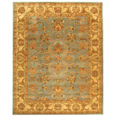 Safavieh Handmade Heritage Timeless Traditional Blue/ Beige Wool Rug (6' x 9'), Size 6' x 9' (Cotton, Border)