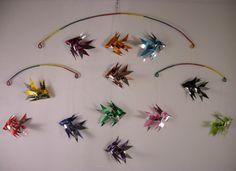 Ribbon Fish Mobile  Vintage Bold and Chrome by DzynesBySheila