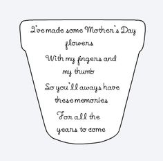 Printable Poem Flower Pot for Mothers Day Poem Flowers and Flower