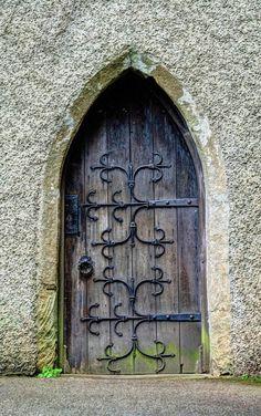 Church door in Grasmere, Cumbria UK. Knobs And Knockers, Door Knobs, Door Handles, Portal, Arched Windows, Windows And Doors, Medieval Door, Doors Galore, When One Door Closes