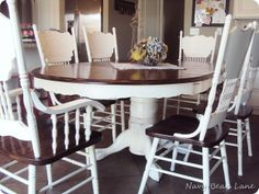 40 Super Black White Remodel Ideas For Dining Room. Cool 40 Super Black White Remodel Ideas For Dining Room. A round white dining table is the perfect idea for intimate little gatherings. The purity of white shows off as […] Dining Table Redo, Painted Kitchen Tables, Kitchen Table Makeover, White Dining Table, Dinning Room Tables, Table And Chairs, Dining Rooms, Dining Chair Makeover, Ikea Dining