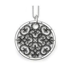 Thomas Sabo Sterling Silver Black Zirconia Pendant Eyelet Necklace TS1015246