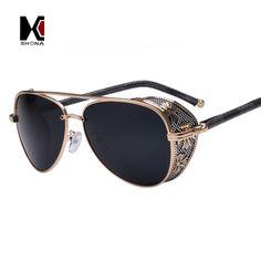 SHAUNA Men Gothic Steam Punk Glasses Eyewear Brand Designer Vintage Summer Cool Sunglasses Fashion Women UV400 Oculos de sol