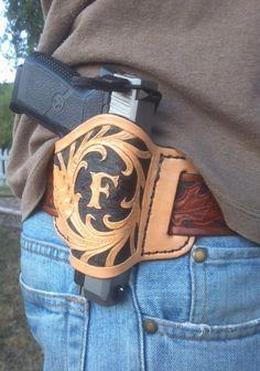 Leather minimal holster. $60.00, via Etsy.
