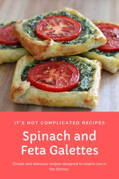 Spinach and Feta Galettes - Rezepte Mittagessen Savory Snacks, Healthy Appetizers, Appetizer Recipes, Healthy Snacks, Vegtable Appetizers, Vegetarian Recipes, Cooking Recipes, Healthy Recipes, Vegetable Recipes