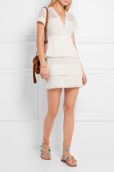Maje   Embroidered cotton and silk-blend tulle mini dress   NET-A-PORTER.COM