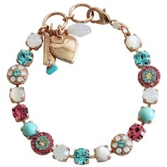 "Mariana Rose Gold Plated Flower Shapes Swarovski Crystal Bracelet, 7.25"" Margarita 4044 M1064rg"