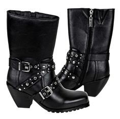 Women's Studded Leather Biker Boots Are Made For Riding and Oh So Hot! 10.5 Inches Tall and Made of Full Grain Leather. Three Straps with Embedded Metal Studs. Oil-Resistant Non-Slip Sole. Comfort Cushion Insole. Inside Calf Zipper for Easy On and Off. One Piece Molded Rubber Sole for Ease While Riding. 2.75 Inch Steel Shank Heel. Don't let the heels and shiny bling fool you! These are real motorcycle boots! #motorcycle #boots http://www.doubledcycles.com/womens-studded-3-strap-biker-boots/
