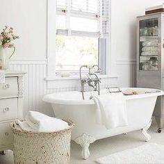 White Beadboard Bathroom, Cottage, bathroom, BHG