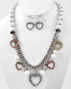 Tri-tone / White Synthetic Pearl / Lead Compliant / Heart Charm / Multi Row / Necklace & Fish Hook Earring Set