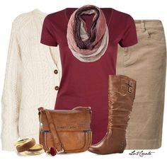 Fall outfit!  brown boots and bag, khaki skirt, burgundy tee, off white sweater and multi Infiniti scarf