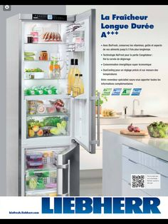Liebher narrow, counter depth refrigerator with two freezer drawers below.
