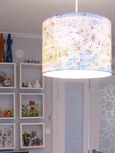 DIY map lamp shade for travel themed nursery